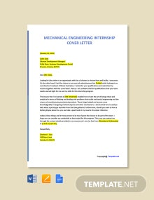 Free Mechanical Engineering Internship Cover Letter Template