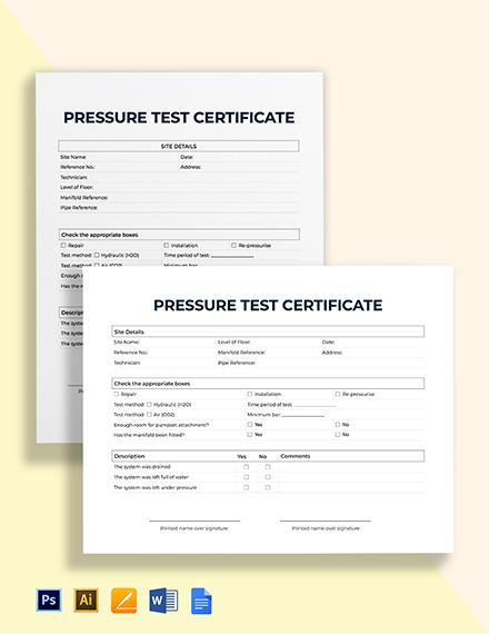 Pressure Test Certificate Template