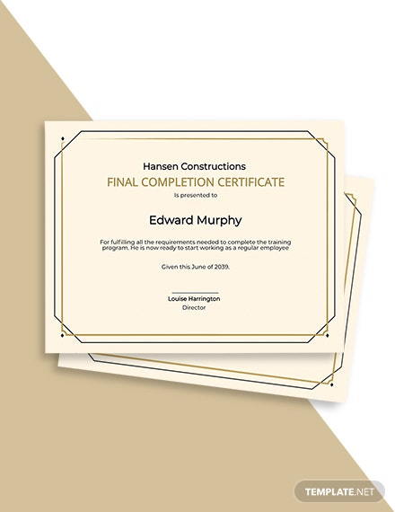 Final Completion Certificate Template