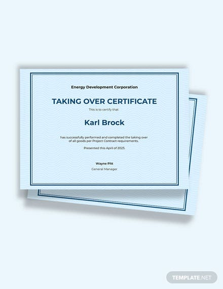 Taking Over Certificate Template