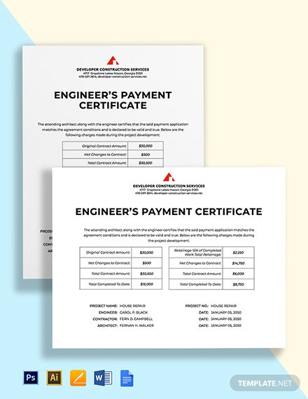 Payment Certificate Template