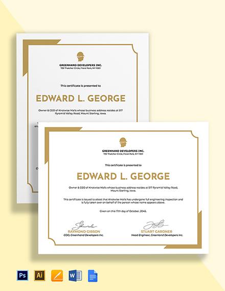 Handover Certificate Template