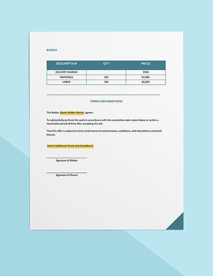 construction bid breakdown Form Format