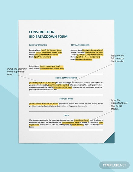 construction bid breakdown Form Sample