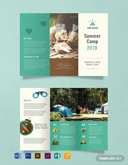 free summer camp brochure template