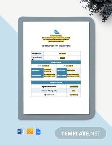 Construction Pay Request Form Template