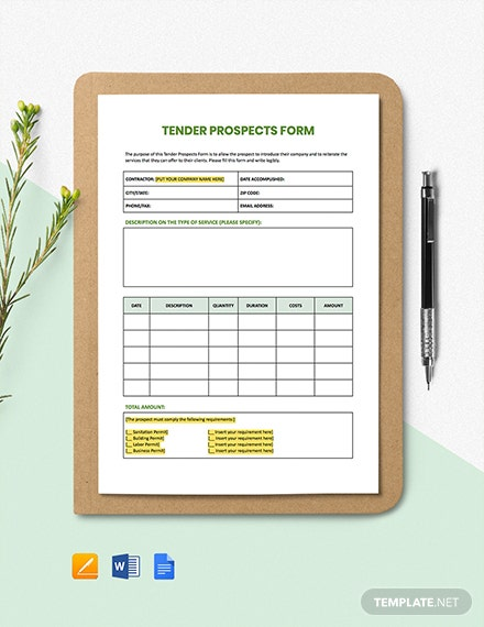 Tender Prospects Form Template