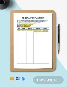 Tender Action Plan Form Template