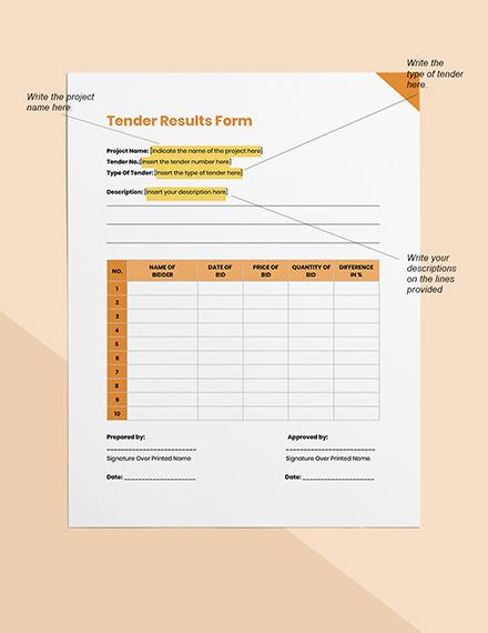 Tender Results Form Format