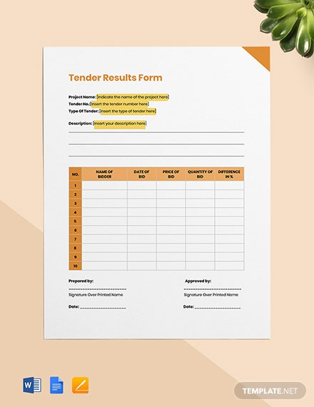 Tender Results Form Template