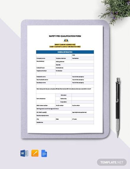 Safety Pre-Qualification Form Template