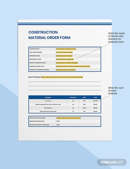 construction material order form Format