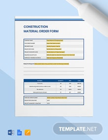 Construction Material Order Form Template