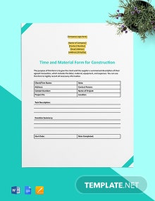Time and Material Form for Construction Template
