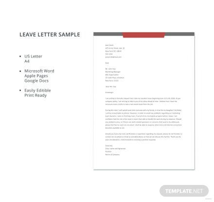 Free Leave Letter Sample