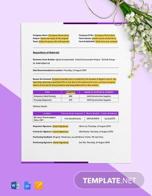 Material Request Form for Construction Company Template
