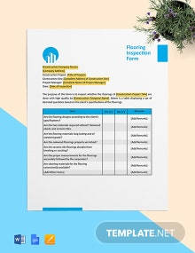 Floring Inspection Form Template