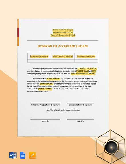 Borrow Pit Acceptance Form Template