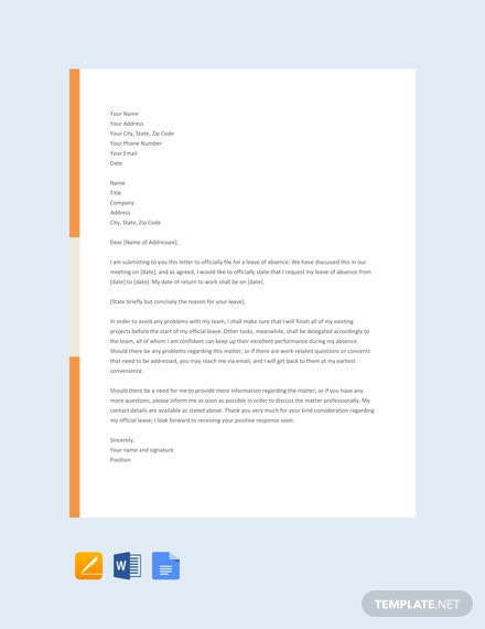 leave of absence letter template