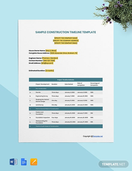 Free Sample Construction Timeline Template