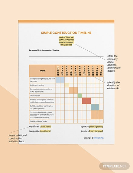 Simple Construction Timeline Format