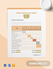 Free Simple Construction Timeline Template