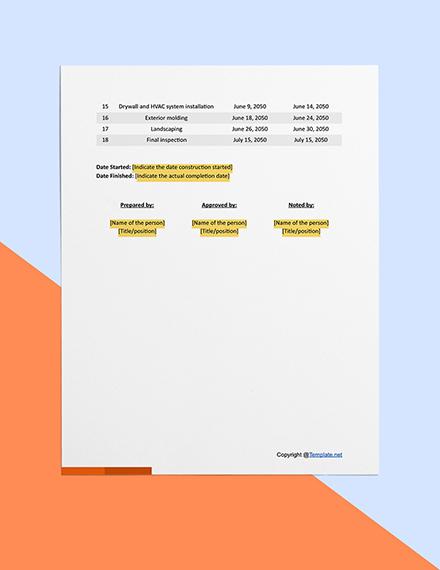 Basic Construction Timeline Download