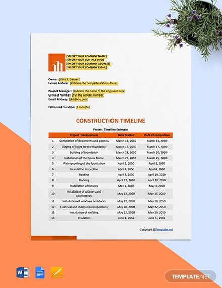 Free Basic Construction Timeline Template