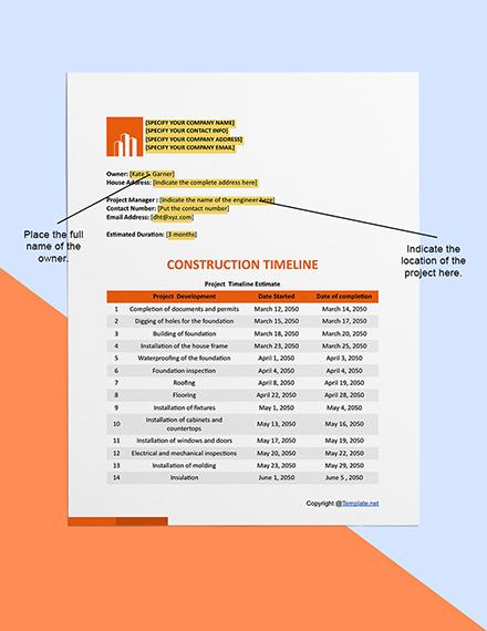 Basic Construction Timeline Sample