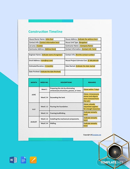 Free Blank Construction Timeline Template