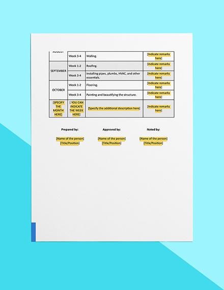 Home Construction Timeline Download