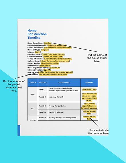 Home Construction Timeline Sample