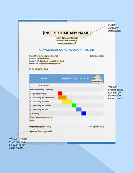 Commercial Construction Timeline Format