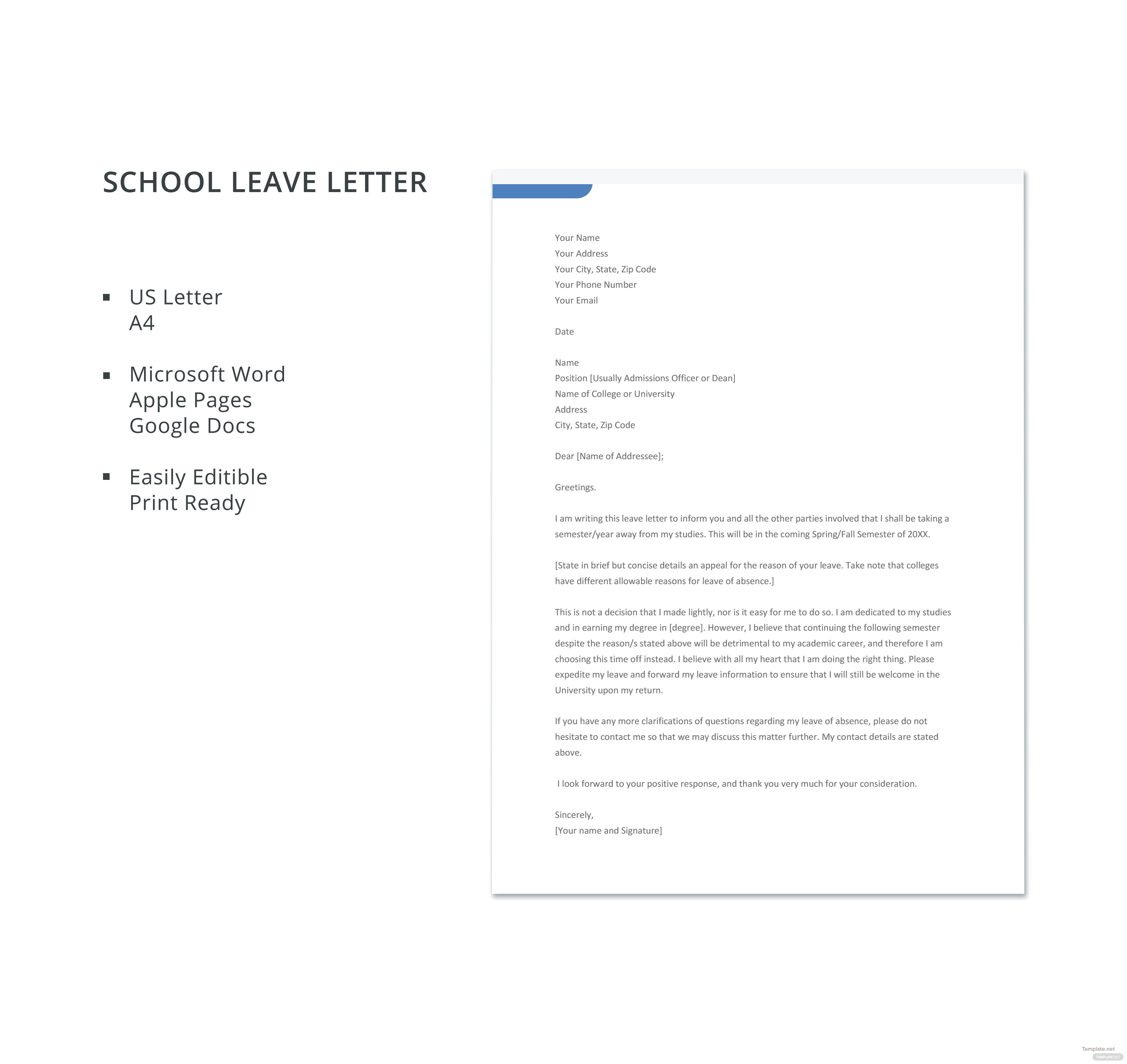 School leave letter template in microsoft word apple pages google click to see full template school leave letter spiritdancerdesigns Image collections