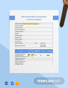 Office Renovation Construction Timeline Template