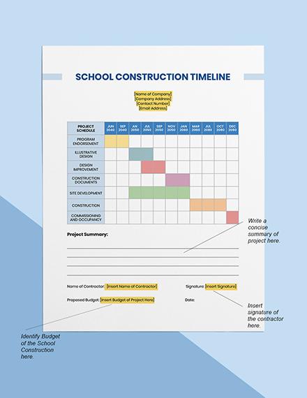 School Construction Timeline Instruction
