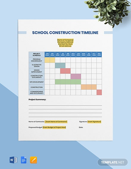 School Construction Timeline Template