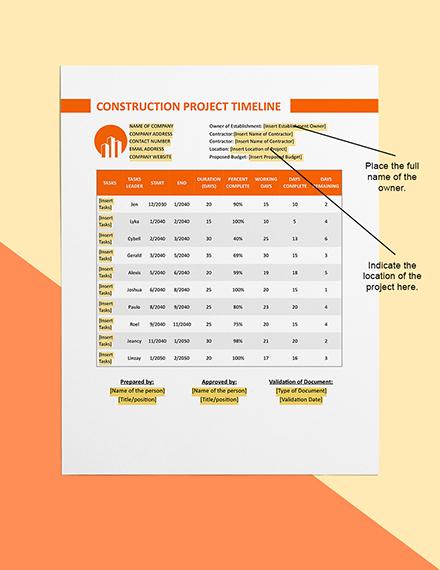 Construction Project Timeline  Sample