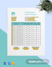 Building Construction Timeline Template
