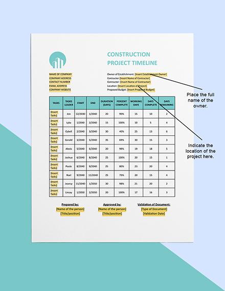 Building Construction Timeline Sample