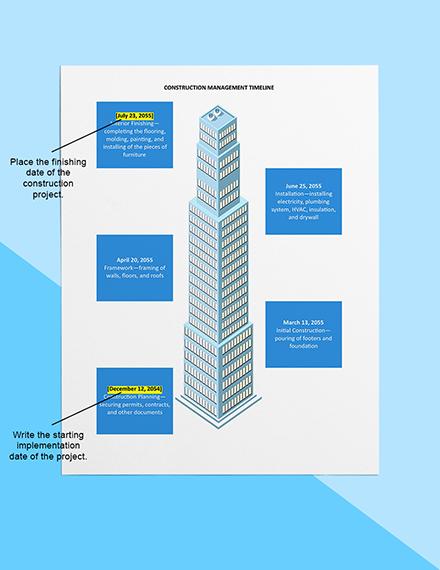 Construction Management Timeline Sample