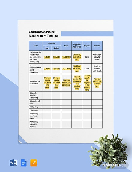 Construction Project Management Timeline Template
