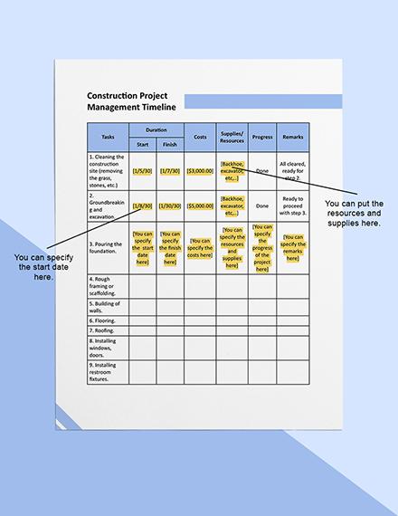 Construction Project Management Timeline Sample