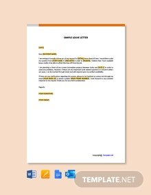 Free Simple Leave Letter Template
