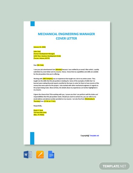 Free Mechanical Engineering Manager Cover Letter Template