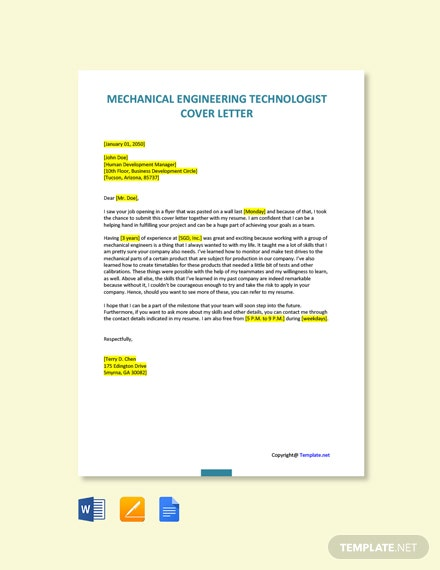 Free Mechanical Engineering Technologist Cover Letter Template