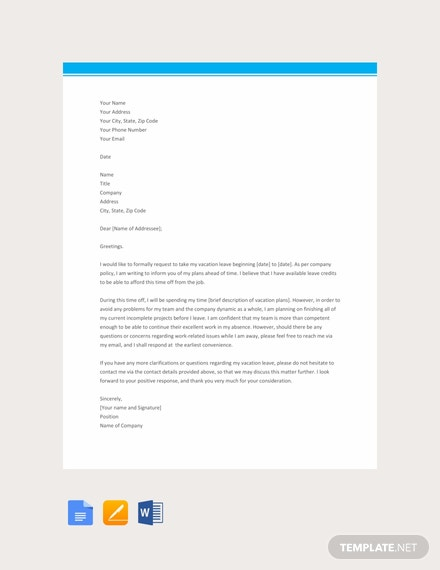Free Vacation Leave Letter Template