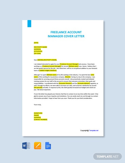Free Freelance Account Manager Cover Letter Template