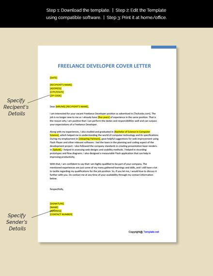 Freelance Developer Cover Letter Template