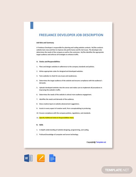 Free Freelance Developer Job Description Template